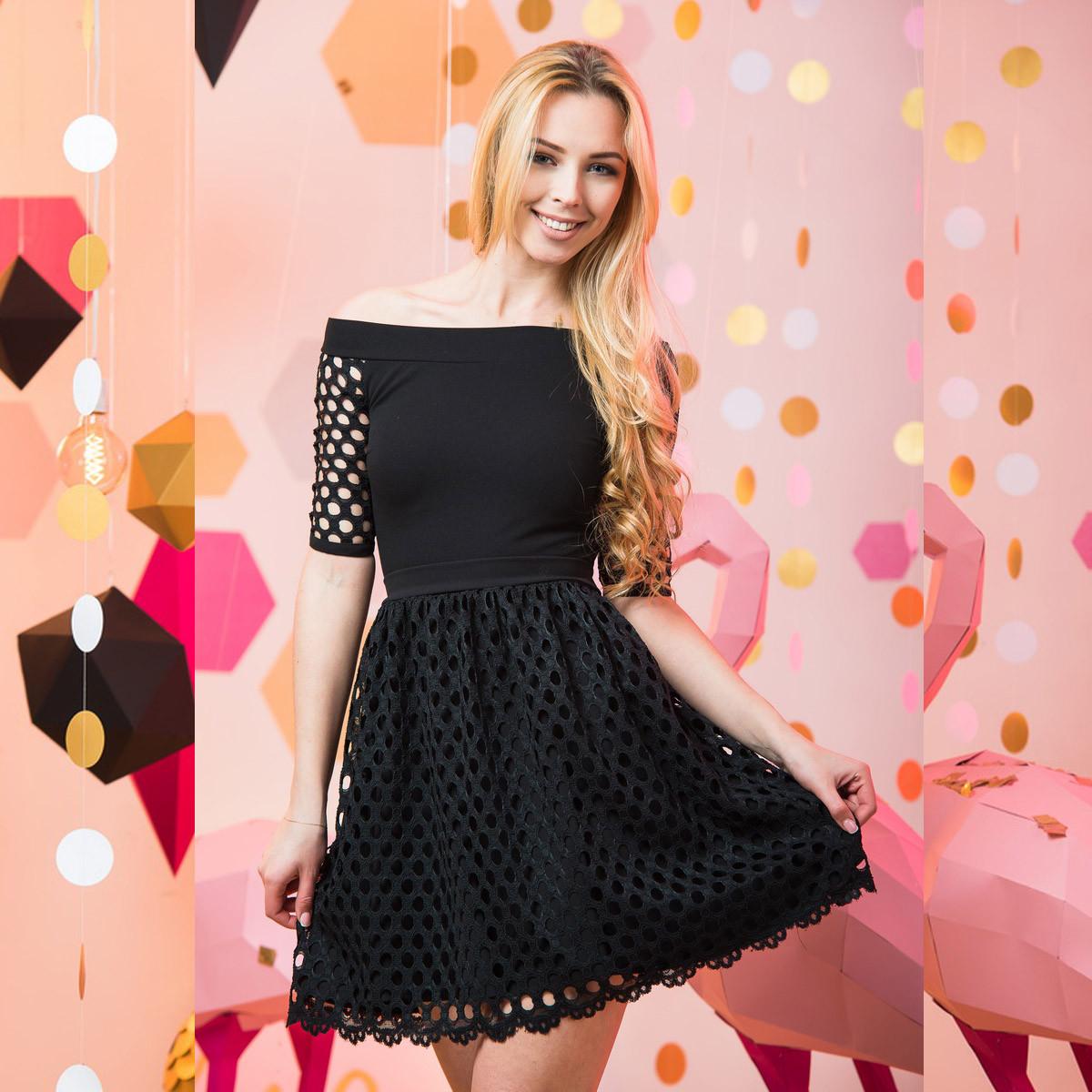 """Нарядное черное платье размер S """"Жаклин"""""""