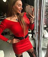 Красное мини-платье с чёрным поясом