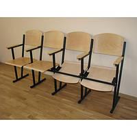 Фанерные секционные кресла для актового зала Wooden. Откидные многоместные секции