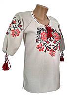 Подростковая вышитая блуза для девочки с розами в этно стиле