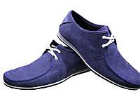 Мокасины мужские на шнуровке натуральная замша синие, фото 1