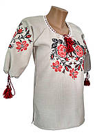 Лляна вишита жіноча сорочка у білому кольорі із квітковим орнаментом, фото 1