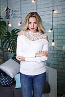 СТИЛЬНАЯ Женская блуза с макрамэ код 814-белый