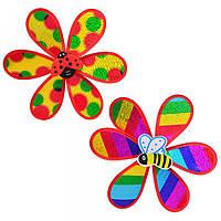 Ветрячок M 0791 цветок, 2 вида в ассортименте, в кульке, 28-28см, игрушка для детей, детская игрушка
