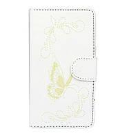 Чехол книжка для Samsung Galaxy Core 2 G355H боковой с отсеком для визиток, Белый с бабочкой