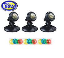 Подводный прожектор AquaNova NLEDPB-3 для пруда фонтана водопада (к-т 3 лампы, датчик день/ночь)
