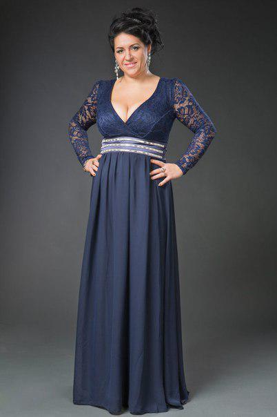 Длинное синее платье с рукавами 48-52 р.