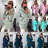 Женская зимняя удлинённая куртка с капюшоном хит продаж 6 цветов