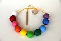 Деревянная игрушка Бусы шнуровка Цветные шарики Komarovtoys