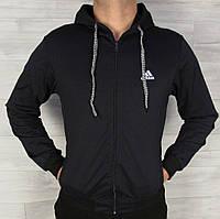 Мужская кофта олимпийка Adidas с капюшоном на змейке черная,размеры 48-54