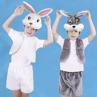 Карнавальный костюм Заяц,зайчик серый,белый, Мех