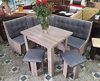 Кухонный уголок Маршал с простым,с раскладным столом и двумя табуретами, уголок без стола и табуретов.