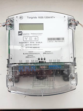 Счетчик электроэнергии Torgrids 1020.10A/3T+ 3х100/100В, 5-10А, актив., Р, однотарифный, RS-485, ЖКИ, фото 2