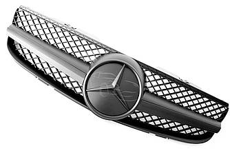 Решетка радиатора Mercedes SL R230 (06-08) стиль AMG (черный мат + черная звезда)
