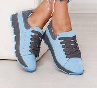 Стильные  удобные кроссовки женские натуральная замша голубого цвета