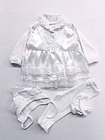 Нарядный костюм, набор на крестины для девочки.
