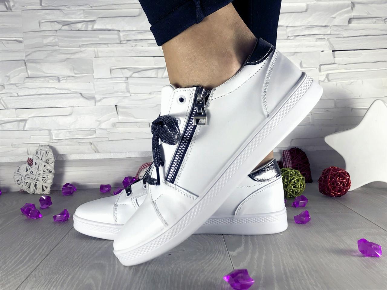 Женские кожаные  кеды (белые), ТОП-реплика