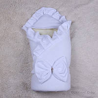 Зимний конверт для новорожденных Мария велюр белый