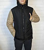 Черная мужская куртка с бежевыми рукавами, фото 1