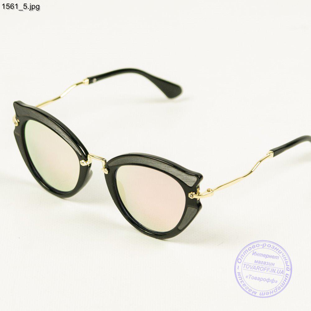 Солнцезащитные женски очки с зеркальными цветными линзами - Черные - 1561 2 27061ae48c9