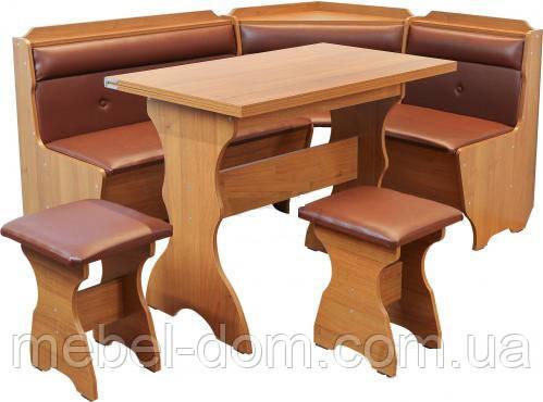 Кухонный уголок Кардинал с простым, с раскладным столом и двумя табуретами