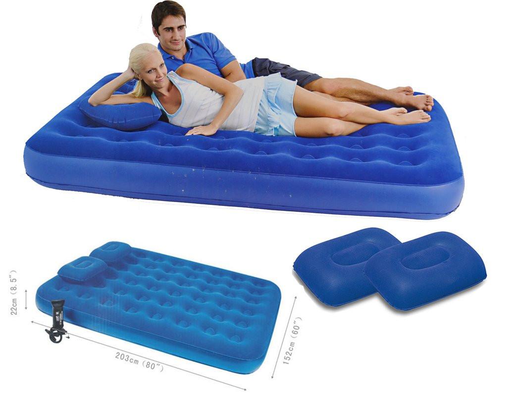 Матрац надувний велюровий двоспальний Bestway 67374 з насосом і подушками, синій, 203 х 152 х 22 см