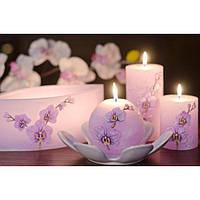 """Свеча для дома """"Орхидея"""" SW4109 цилиндр, размер 70*140, свадебные аксессуары, декор для свадьбы, аксессуары для свадьбы"""