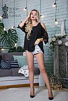 СТИЛЬНАЯ Женская блуза ажур код 2345-черная, фото 1