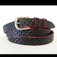 Женский кожаный ремень 20 мм чёрный с красными краями
