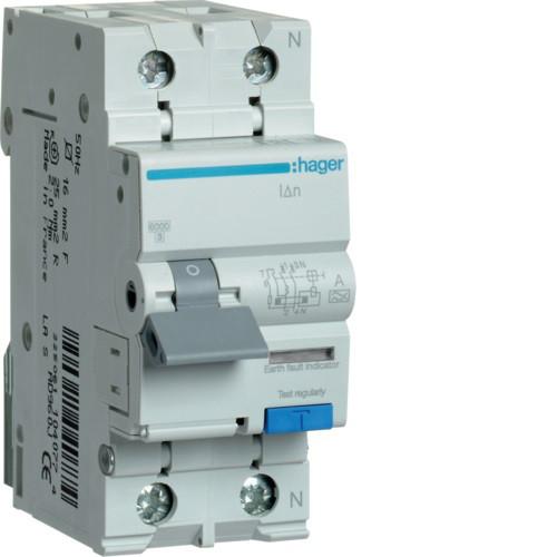Дифференциальные автоматические выключатели 2-полюсные, тип А, 6 kА, C HAGER