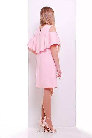 Летнее свободное розовое платье до колен с воланами и разрезами на плечах Ольбия б/р, фото 2