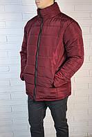 Дутая зимняя мужская куртка без капюшона red