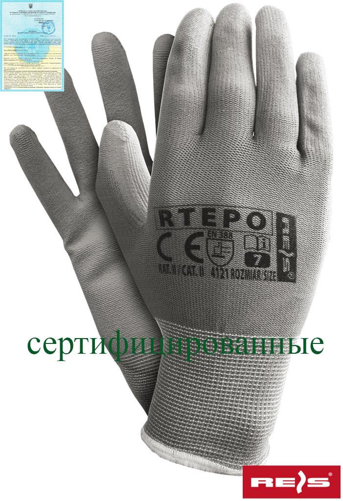 Захисні рукавиці виготовлені з поліестеру, вкриті поліуретаном RTEPO SS
