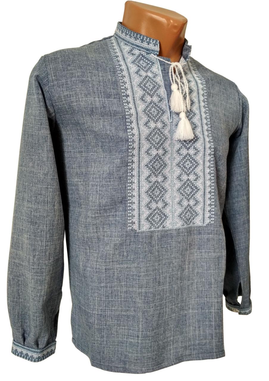 Чоловіча вишита сорочка на довгий рукав із геометричним орнаментом