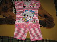 Пижама детская на девочку футболка+бриджи розовая в полоску размер 10