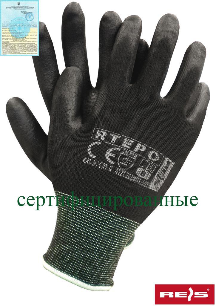 Защитные рукавицы изготовленные из полиэстера, покрытые полиуретаном RTEPO BB