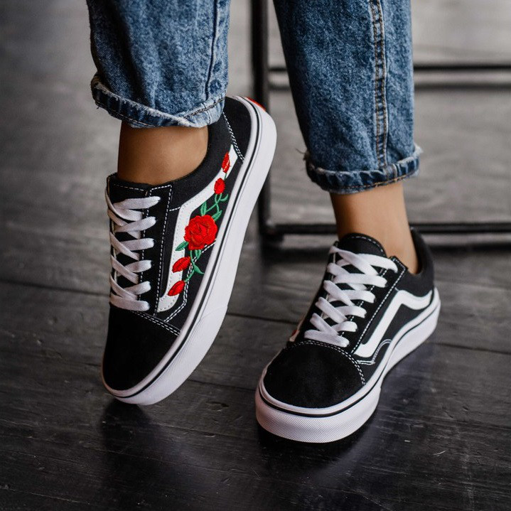 76e6212631f6 Кеды в стиле Vans Old Skool Black/White Roses унисекс