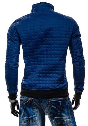 Демисезонная мужская синяя куртка без капюшона, фото 2