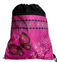 Рюкзак Vombato 3-7844 Метелики горох для змінного взуття спортивний шкільний на шнурках чорний з кишенею, фото 1