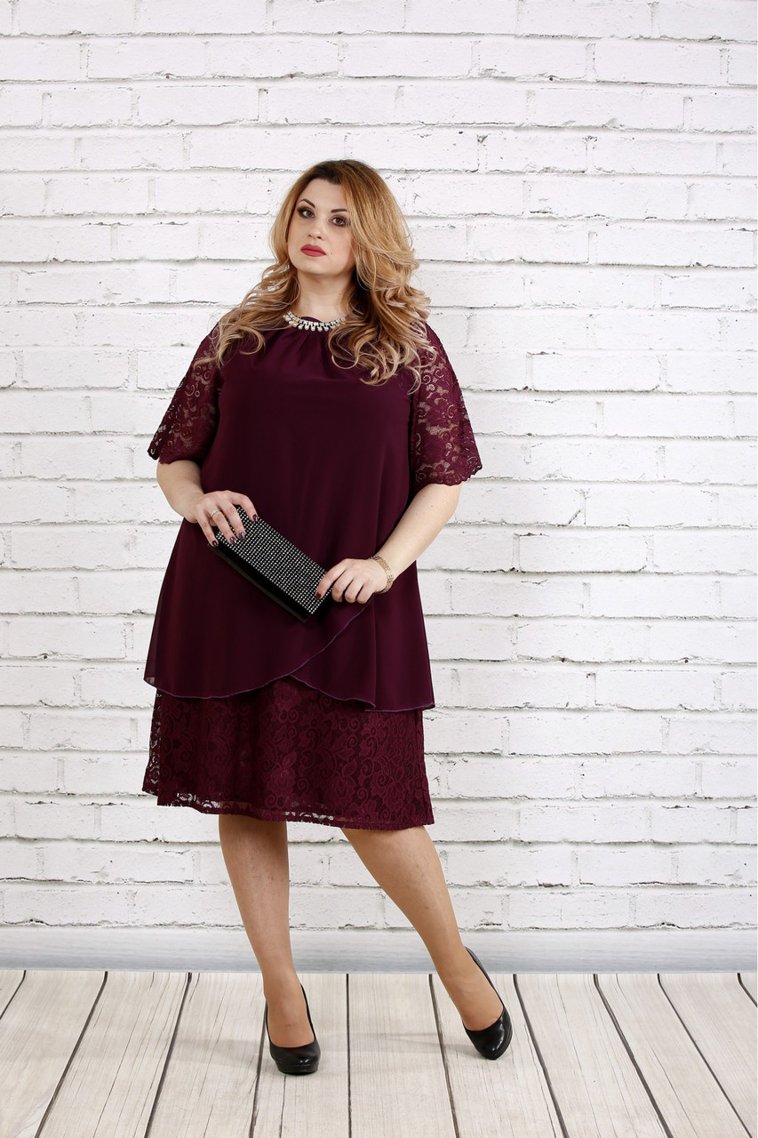 Женское платье свободного покроя 0751 цвет баклажан / размер 42-74 / больших размеров