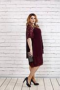 Женское платье свободного покроя 0751 цвет баклажан / размер 42-74 / больших размеров , фото 3