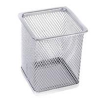 """Подставка для ручек-металл """"Сетка"""", квадратная, серебристая, 3545_S"""