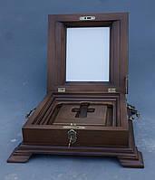 Ковчег их ольхи для хранения Святых мощей с залевкашенной досточкой для иконы., фото 1