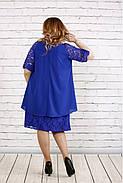 Женское платье свободного покроя 0751 цвет электрик / размер 42-74 / больших размеров , фото 4