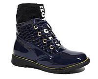 Лаковые ботинки весна-осень для девочки, Солнце dark blue, 27-28