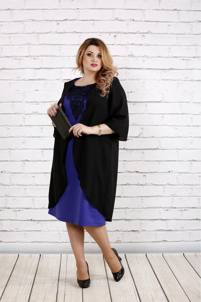 Женское платье с кружевом больших размеров 0747 цвет фиолетовый / размер 42-74