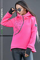 Розовая куртка - анорак с капюшоном размер 42-48, фото 1