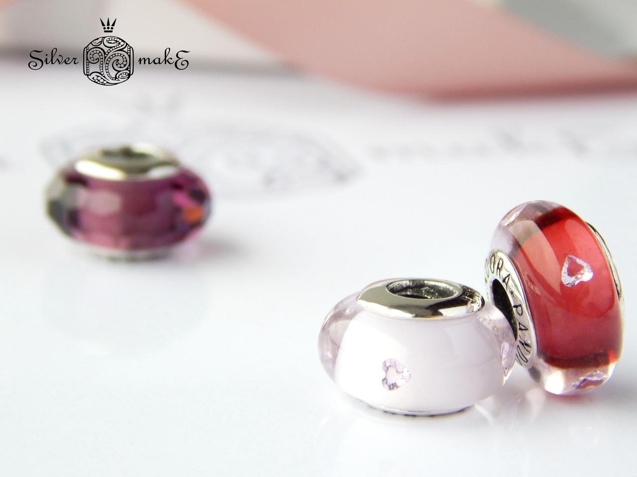Срібна шарм Pandora Мурано Рожеве з серцем