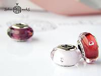 Срібна шарм Pandora Мурано Рожеве з серцем, фото 1