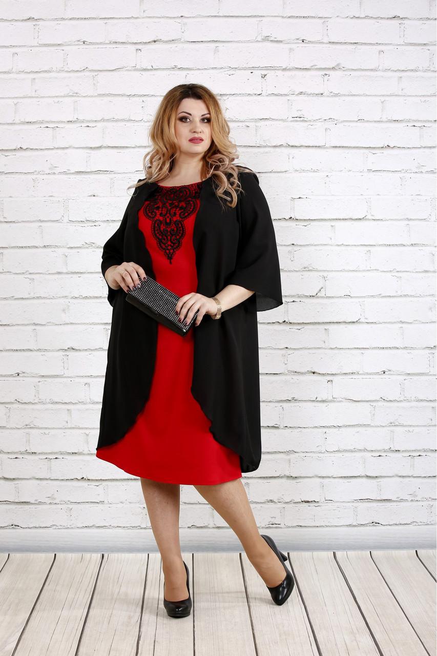 Женское платье с кружевом больших размеров 0747 цвет алый / размер 42-74